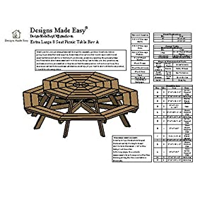 Easy DIY Octagon Picnic Table - Design Plans Instructions for Woodworking 01