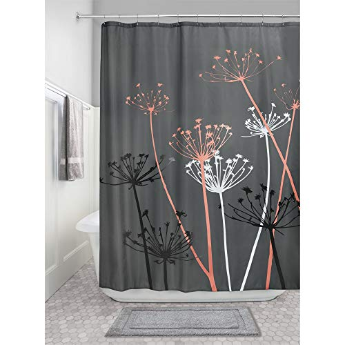 iDesign Thistle Fabric Shower Curtain, 72 x 72-Inch, Gray/Coral (Coral And Gray Shower Curtain)