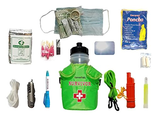 $averPak Single - Seychelle 42oz Survivor Canteen and Green Insulator Sling with the EXTREME Filter and 12 Other Survival Essentials by $averPak
