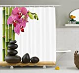 Hot Pink Shower Curtain Liner Ambesonne Spa Decor Shower Curtain, Beautiful Pink Orchid with Bamboos and Black Hot Stone Massage Image, Fabric Bathroom Decor Set with Hooks, 70 Inches, Green Fuchsia