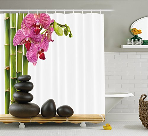 Ambesonne Spa Decor Shower Curtain, Beautiful Pink Orchid with Bamboos and Black Hot Stone Massage Image, Fabric Bathroom Decor Set with Hooks, 70 Inches, Green (Pretty Pink Orchid)
