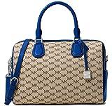 Michael Kors Mercer Medium Heritage Logo Duffel Satchel Crossbody Bag Natural Blue