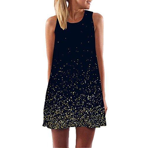 Women Dresses Godathe Women Loose Summer Vintage Sleeveless 3D Floral Print Bohe Tank Short Mini Dress S-XXL -