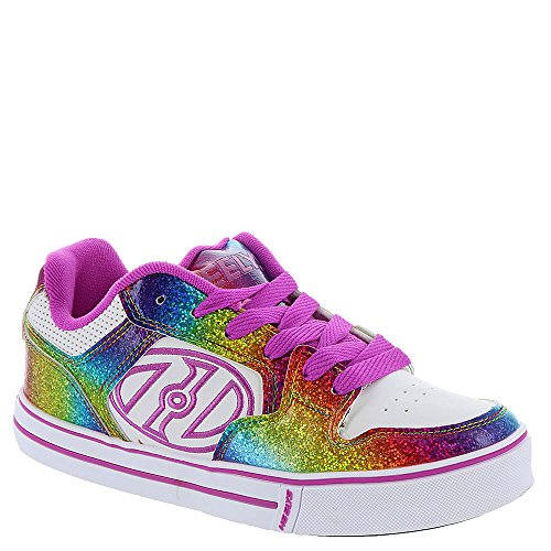 3 Youth Skate Shoes (Heelys Kid's Motion Plus Skate Shoe Fashion Sneaker - White/Rainbow/Hot Pink - Girls - 3)