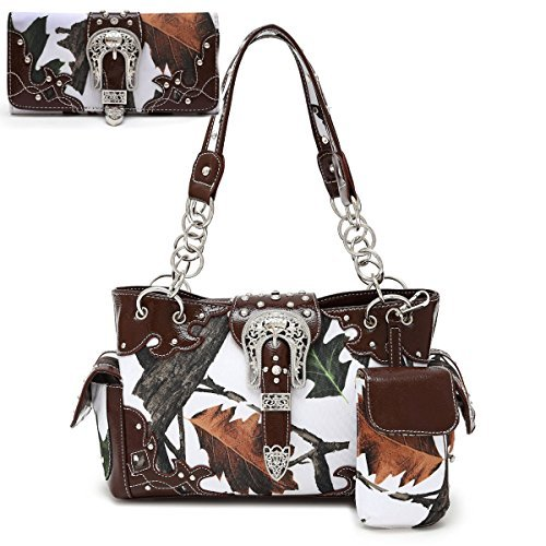 (B43-1)Buckle Spring Camo Leaves And Trees Purse Concealed Carry Western Handbag & Wallet Set-WML8469B-SET