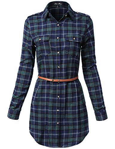Buy belted plaid shirt dress - 7