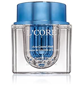 L'core Paris Acne Control Mask - Size 1.7oz/50ml, natural acne treatment, reduces pimples and conceals scars, enhanced with diamond dust and organic plant extracts, coconut fregrance