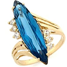 10k Gold Simulated Birthstone Marquise CZ Statement Ring