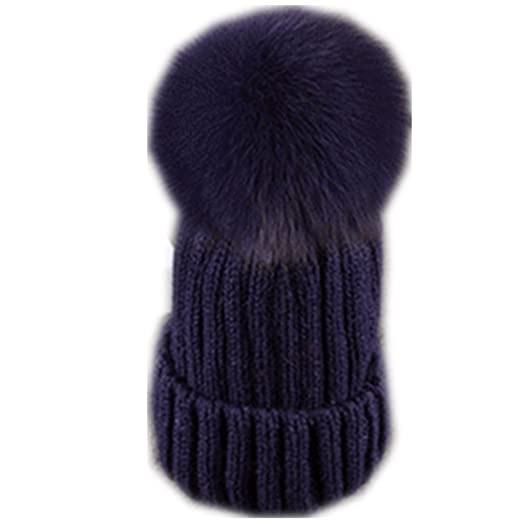 f2491354144 Adult Lady Natural Real Fox Fur Pom Poms Beanie Hat Cap Ball Warm Winter  Knitted Hat (9) at Amazon Women s Clothing store