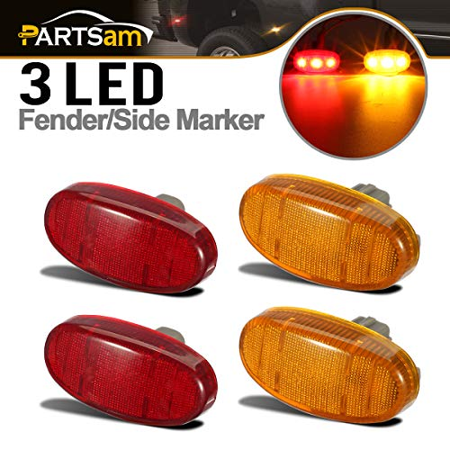 Partsam Dually Bed Front Rear Red/Amber Side Fender Marker LED Lights Aftermarket Replacement for Ford F350 F450 F550 11 12 13 14 15 16 2011 2012 2013 2014 2015 2016 Super Duty (2Red & 2Amber)
