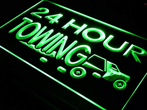 (ADVPRO 24 Hours Towing Car Repairs Auto LED Neon Sign Green 16 x 12 Inches)