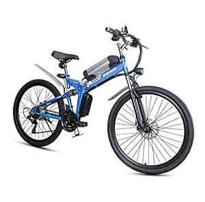 Lvbeis Adultos Bici Electrica de Montaña Plegable Bicicleta con Asistidas Al Pedaleo PortáTil E-Bike 40 KM/h Bicicleta,Blue