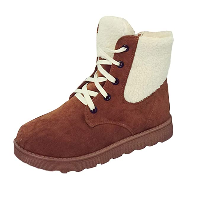 ❤ Botas de Nieve para Mujer con Cordones, Calzado de Invierno para Mujer Zapatos Planos con Punta Redonda Botas de Nieve Cortas Martin con Cordones ...