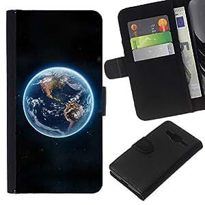 KingStore / Leather Etui en cuir / Samsung Galaxy Core Prime / Tierra azul del planeta Continentes Ver espacio