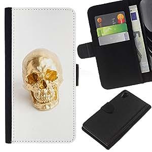 KLONGSHOP // Tirón de la caja Cartera de cuero con ranuras para tarjetas - Nugget Scull blanca minimalista Bling - Sony Xperia Z2 D6502 //