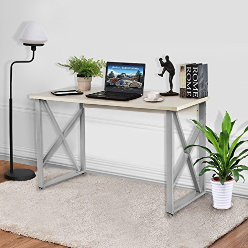 """Office Computer Desk, 47"""" Modern Simple Style PC Laptop Table Office Desk Workstation for home office,Writing Home Office Furniture, Wooden Particleboard Table -White by JOO LIFE"""