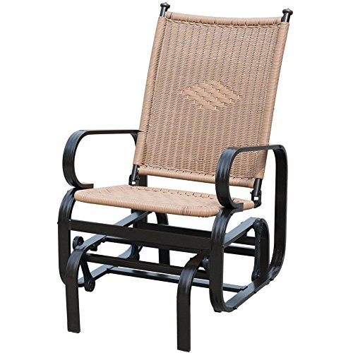 PatioPost Glider Chair Outdoor PE Wicker Patio Rocking Chair, Tan (Outdoor Rocking Chairs Cheap)