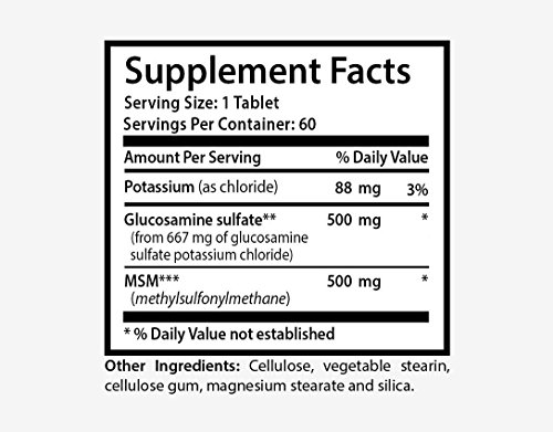 Msm pills - GLUCOSAMINE AND MSM - build healthy skin cells (1 bottle) by Health Solution Prime (Image #1)