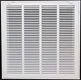 20'' X 20 Steel Return Air Filter Grille for 1'' Filter - Removable Face/Door - HVAC DUCT COVER - Flat Stamped Face - White [Outer Dimensions: 22.5''w X 22.5''h]