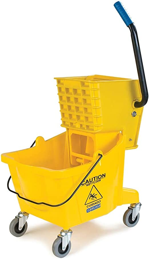 Yellow Carlisle 3690804 Commercial Mop Bucket with Side Press Wringer Renewed 26 Quart Capacity