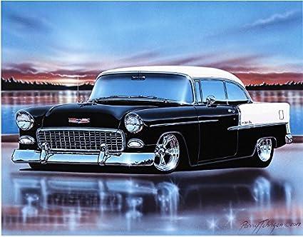 Bel Air Car >> Amazon Com 1955 Chevy Bel Air 2 Door Hardtop Hot Rod Car Art Print