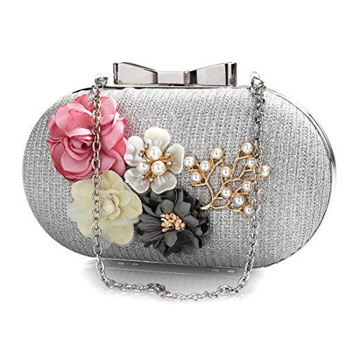 Rhinestones Clutch Bag Hard Silver Wedding Women Case Flower Pearl Purse Handbags Evening Beaded 04xdqXp