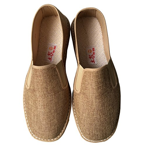 TimeBus Chinese Traditional Loofah Sponges Breathable Healthy Martial Arts Tai Chi Kung Fu Shoes Brown (41(men8.5/women10))
