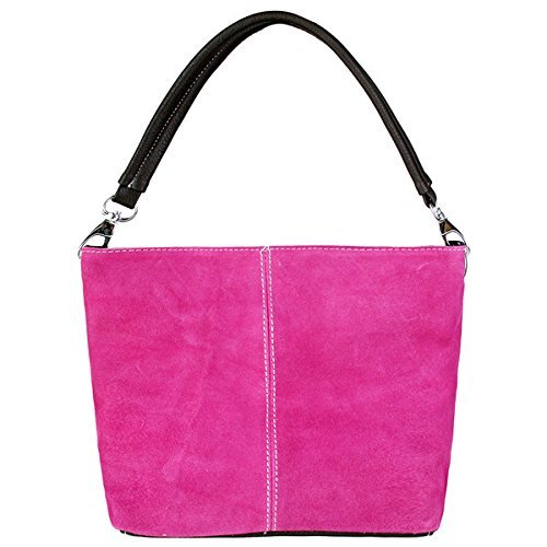 Small Italian Bucket Fuschia Suede Genuine Single Hobo Womens Strap Leather Slouch Bag Shoulder pwCqyE