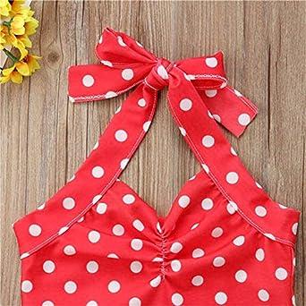 Lbdfbjy Newborn Baby Girls Swimsuit Polka Bow Red Swimwear Swimming One-Piece Bikini
