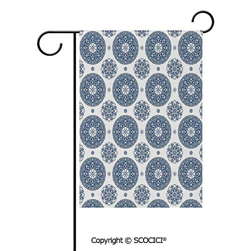 SCOCICI Double Sided Washable Customized Unique 12x18(in) Garden Flag French Country Style Floral Circular Pattern Lace Ornamental Snowflake Design Print,Blue White,Flag Pole NOT Included