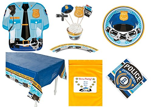[Police Dept. theme Birthday Party Tableware Decorations (1 Tablecloth, 8 Dinner Plates, 8 Dessert Plates, 16 Napkins, 50 Cupcake wrappers and picks, Bonus] (Police Officer Party Supplies)