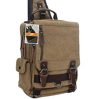 Leaper Canvas One Strap Sling Cross Body Messenger Bag Shoulder Backpack Travel Rucksack (For 13  laptop,Khaki)