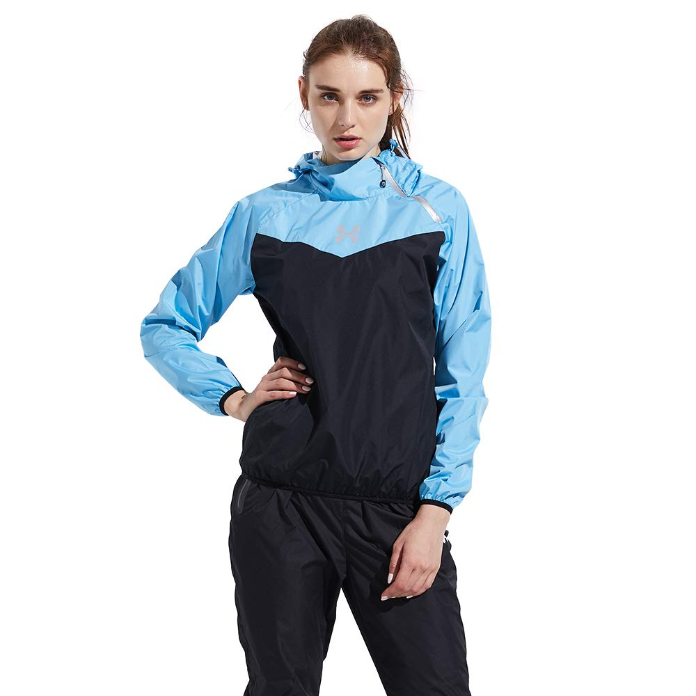 HOTSUIT Sauna Suit Weight Loss Training Fitness Suits Slim Clothes (Blue,S)