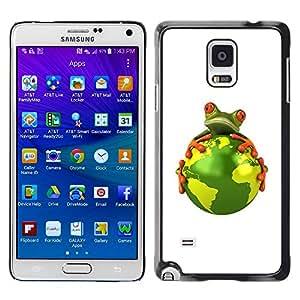 LECELL--Funda protectora / Cubierta / Piel For Samsung Galaxy Note 4 SM-N910 -- Planet Earth Environment Warming Global Frog --