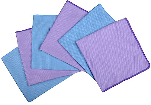 Sinland Microfiber Cleaning cloth for Stainless Steel Appliances Wine Glass Window Polishing Cloths(16inchx16inch pack of 6)