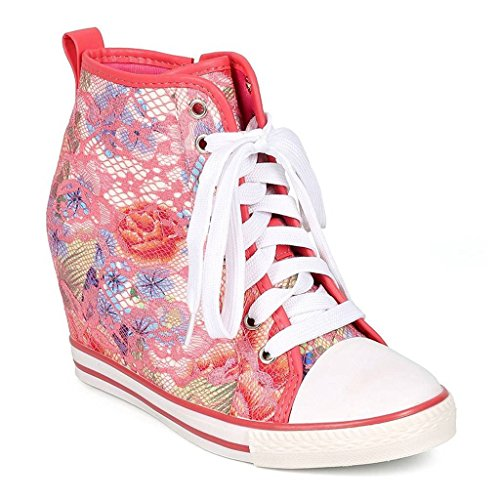 WestCoast Women Lace Floral Lace up Zip Wedge Sneaker - Coral 8.5 by WestCoast (Image #1)