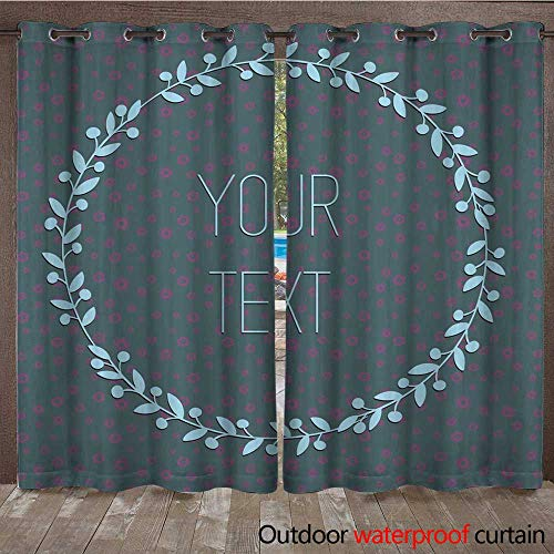 (RenteriaDecor Outdoor Ultraviolet Protective Curtains Postcard with Spring Flowers and Picture Frame Ah Your Text W72 x L84)