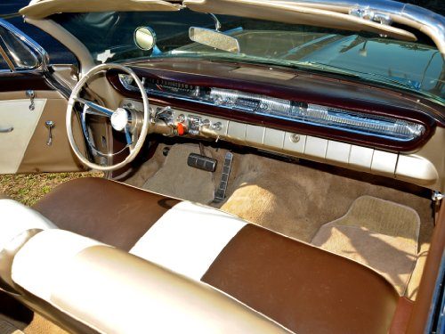 Pontiac Catalina Convertible (1961) Car Art Poster Print on 10 mil Archival Satin Paper Brown/White Interior View 20