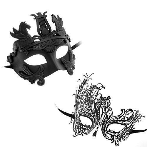 [ILOVEMASKS VENETIAN HERCULES MASQUERADE COUPLE BLACK MASKS SET (Black Set 8)] (Hercules Costume Couple)