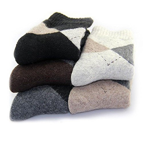 Pack of 5 Mens Thick Warm Casual Wool Crew Winter Socks Mixed Colors