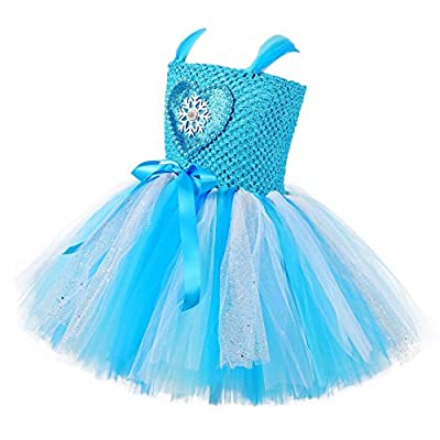 Tutu Dreams Snow Queen Dress Costume for Girls 1-8Y with Crown Wand Birthday Christmas Party Gifts: Clothing