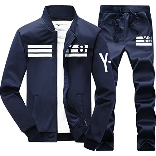 Price comparison product image M-LORD (TM) Mens Spring Zipper Long Sleeve Casual Jogger Tracksuit Baseball Jacket & Pants D/B XL