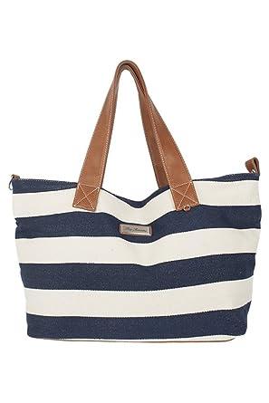 Pia Rossini Arenal Navy/White Striped Beach Bag: Amazon.co.uk ...