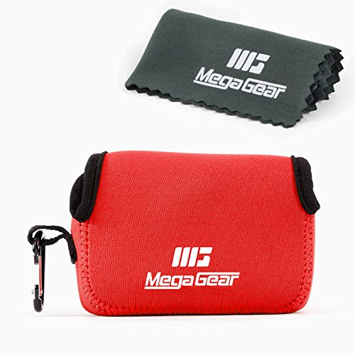 MegaGear ''Ultra-Light'' Neoprene Camera Case, Bag - Protective Cover for Panasonic Lumix DMC-LX10K - with Carabiner for Easy Carrying (Red) (Camara Resistente Al Agua)