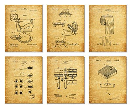 Bathroom Patent Prints - Wall Art - Set of Six Photos - Unframed (8 x 10)