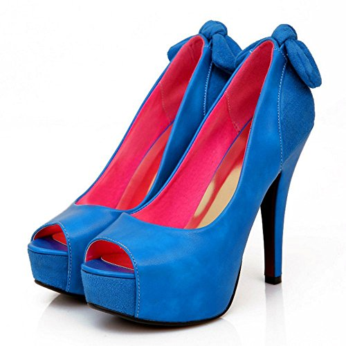 TAOFFEN Mujer Elegante Plataforma Peep Toe sin Cordones Bombas Zapatos Fiesta Tacon Alto Sandalias Azul