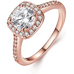 [Eternity Love] Women's Pretty 18K Rose Gold Plated Princess Cut CZ Crystal Valentine's Day gift