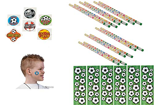 (Awesome Soccer Party Favors 1DZ (12) Soccer Pencils / 12 Soccer Sticker Sheets / 144 Soccer Tattoos)
