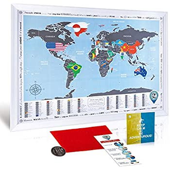 Amazon framed scratch off world map flags edition premium framed scratch off world map flags edition premium quality travel map with white wooden frame 284x205 deluxe compact scratch off poster wsilver foil gumiabroncs Images
