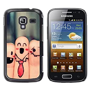 Qstar Arte & diseño plástico duro Fundas Cover Cubre Hard Case Cover para Samsung Galaxy Ace 2 I8160 / Ace2 II XS7560M ( Fingers Faces Funny Drawing Smiley Tie Art)